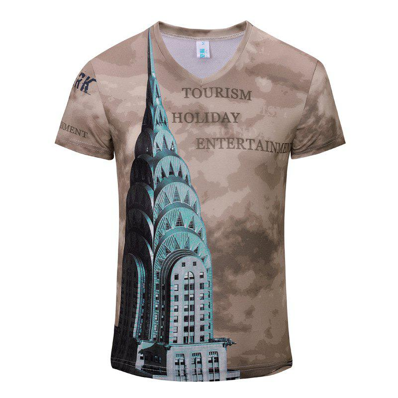 New Style Leisure Fashion High-Rise Tower 3D Print Men'sV-Collar T-shirt - CAMEL BROWN M