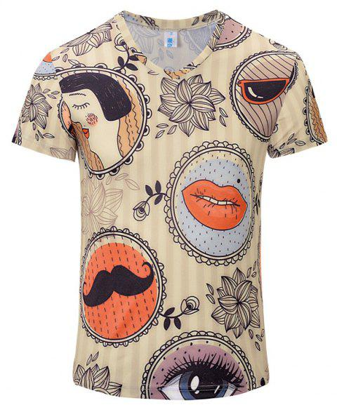New Casual Fashion Features 3D Printed Men's V-Collar T-shirt - BEIGE 2XL