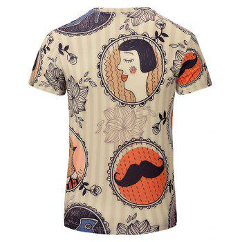 New Casual Fashion Features 3D Printed Men's V-Collar T-shirt - BEIGE M