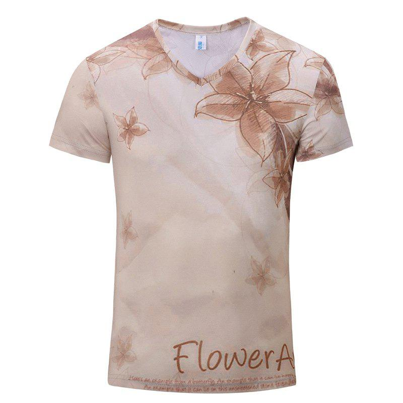 New Fashion Five-Leaf Flower 3D Print Men's V-Collar Short Sleeve T-shirt - BEIGE S