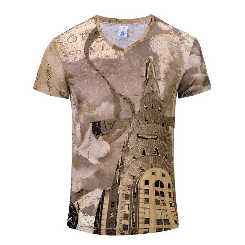 Stylish New Luxury Tower 3D Print Men's V-Collar T-shirt - KHAKI ROSE XL