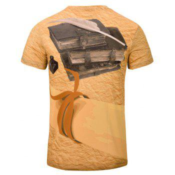 Summer Leisure New Fashion Classics 3D Print Men's V-Collar T-shirt - GOLDENROD XL