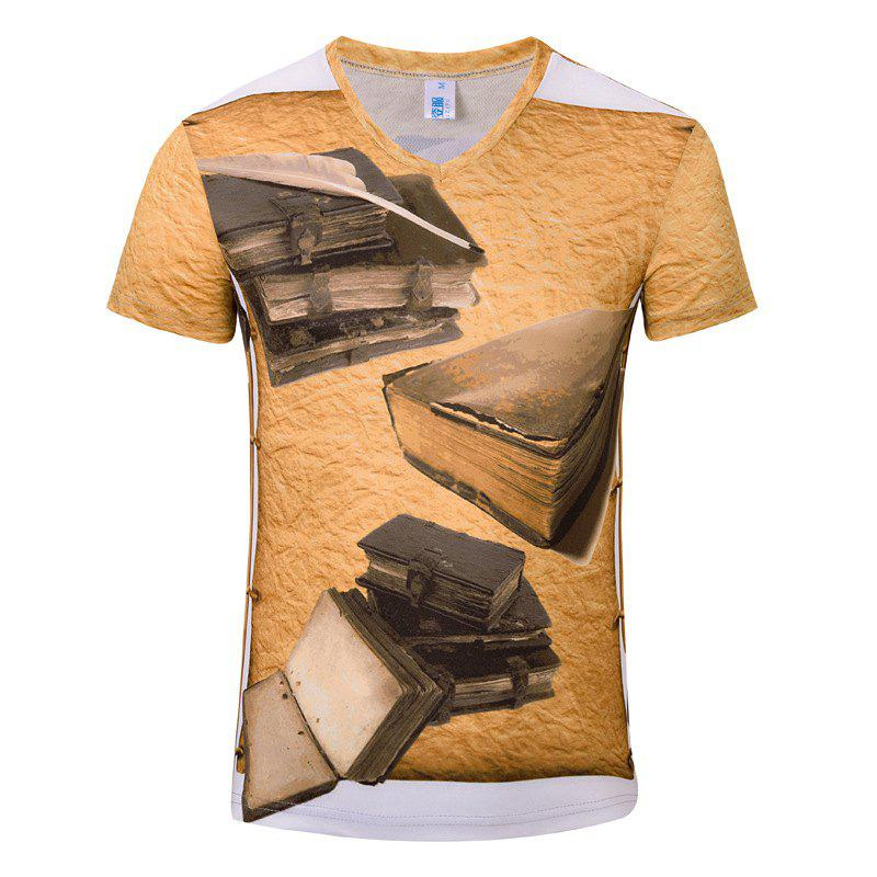 Summer Leisure New Fashion Classics 3D Print Men's V-Collar T-shirt - GOLDENROD S