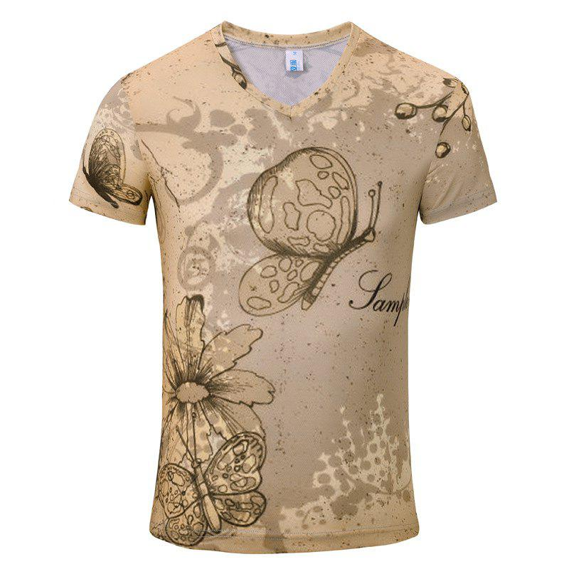 Summer New Fashion Iris 3D Print Men's V-Collar T-shirt - BEIGE M
