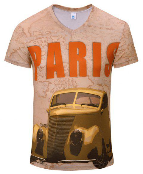 3D Stylish New Limo Men's V-Collar Short-Sleeved T-shirt - CHAMPAGNE 2XL