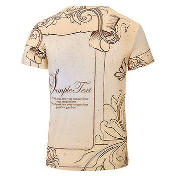 Summer Fashion New Beige 3D Print Men's V-Collar Short Sleeve T-shirt - BEIGE S