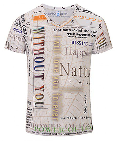 3D Letter Fashion Casual New Printing Men's V-Collar T-shirt - multicolor L