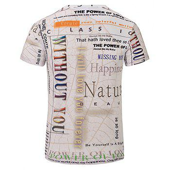 3D Letter Fashion Casual New Printing Men's V-Collar T-shirt - multicolor 3XL
