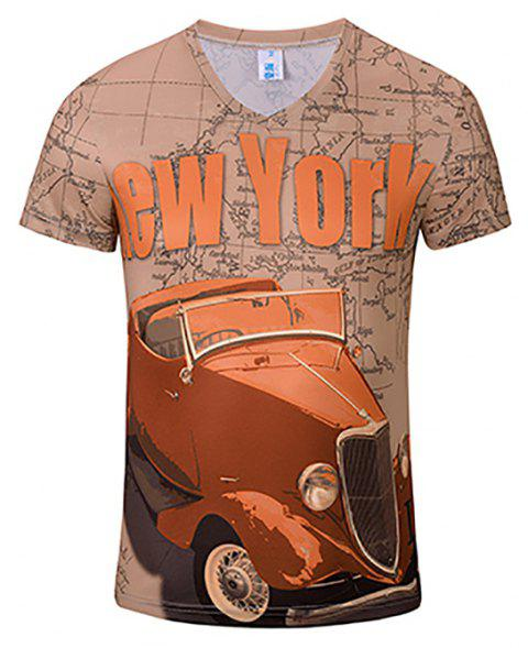3D Fashion New Red Car Print Men's V-Collar T-shirt - CAMEL BROWN 3XL