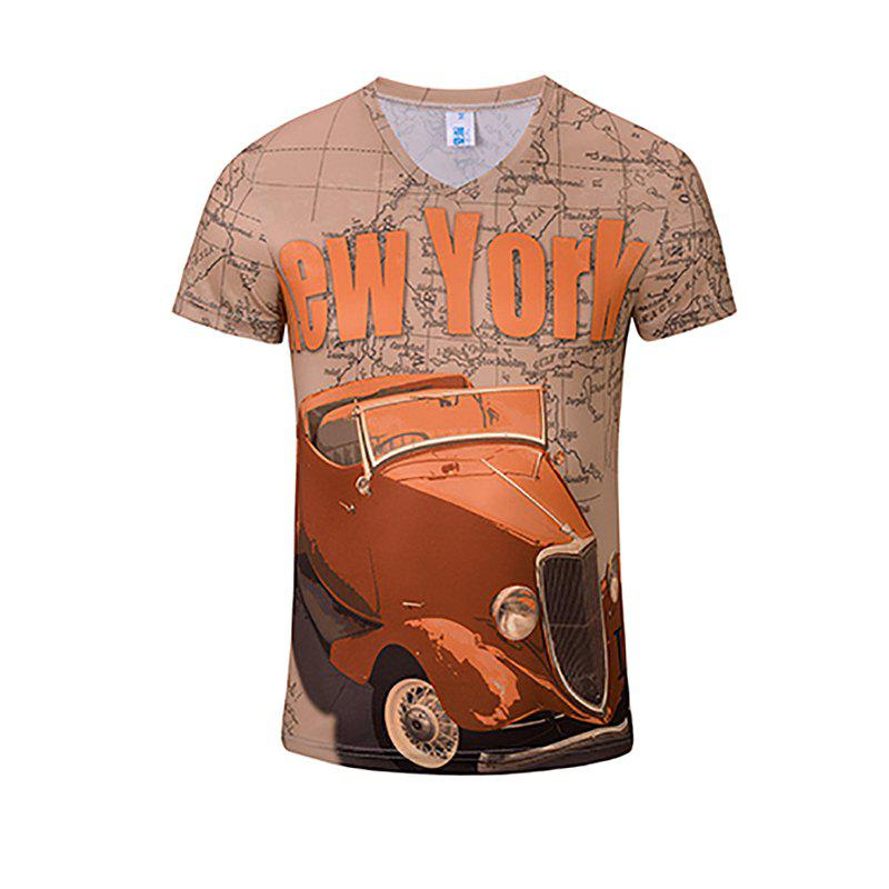 3D Fashion New Red Car Print Men's V-Collar T-shirt - CAMEL BROWN XL