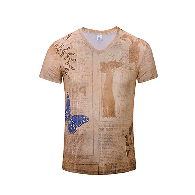 3D Stylish New Brown Print Man V-Collar Short Sleeve T-shirt - CAMEL BROWN S