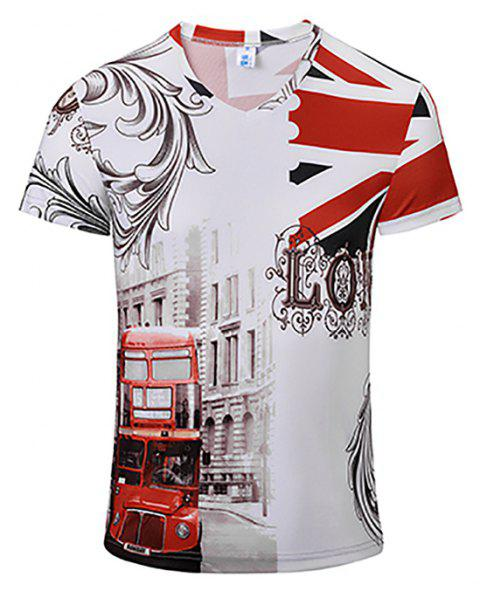 3D Fashion New Double-Decker Print Man V-Collar T-shirt - WHITE XL