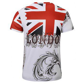 3D Fashion New Double-Decker Print Man V-Collar T-shirt - WHITE 3XL