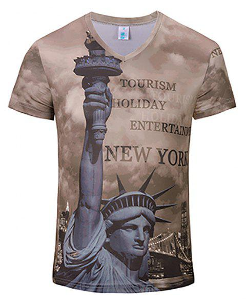 New Fashion Statue 3D Print Man V Collar T-shirt - ROSY BROWN 2XL