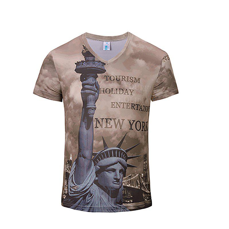 New Fashion Statue 3D Print Man V Collar T-shirt - ROSY BROWN S
