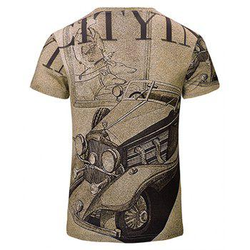 Casual New Fashion Car 3DY Print Men's V-Collar Short Sleeve T-shirt - LIGHT KHAKI 2XL