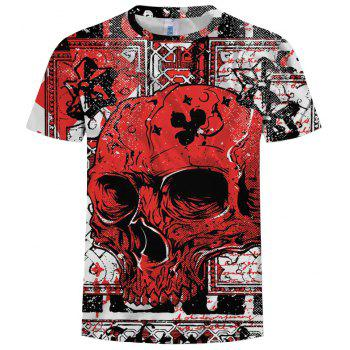 2018 Men's Summer New Trend 3D Printed Round Neck Short Sleeve T-shirt - multicolor Z 3XL