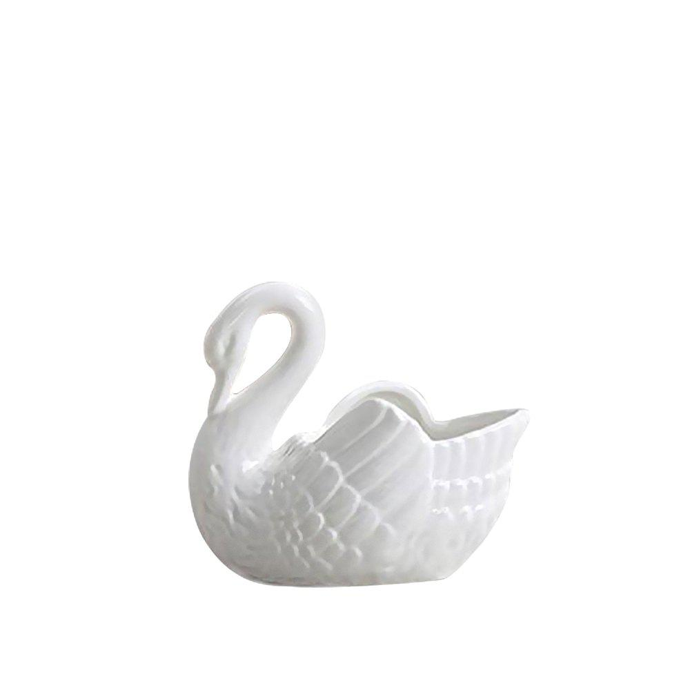 WX-B6A White Swan Ceramic Decoration Flower Pot Candlestick - WHITE SIZE S