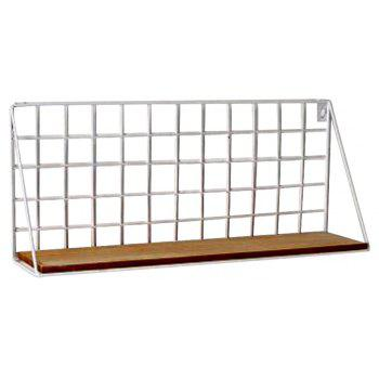 XH-A602 Simple Grid Word Shelf Kitchen Bathroom Wall Storage Rack - WHITE SIZE L