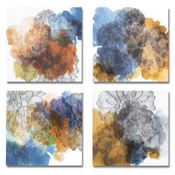 41XDZS - 410-411-412-413 4PCS Fashionable Abstract Flowers Print Art - multicolor 30 X 30CM X 4