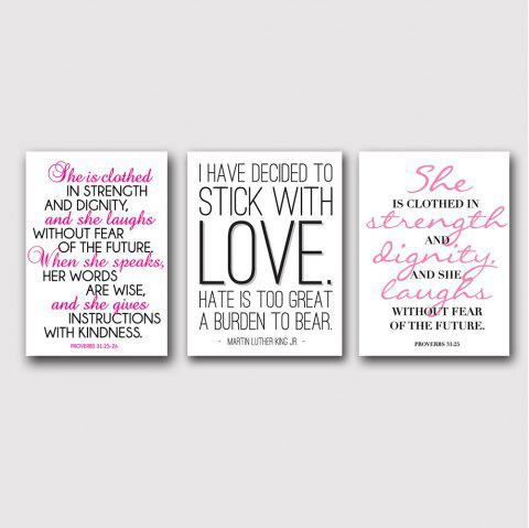 QiaoJiaHuaYuan Nordic Style English Words Prints for Living Room 3PCS - multicolor 16 X 24 INCH (40CM X 60CM)