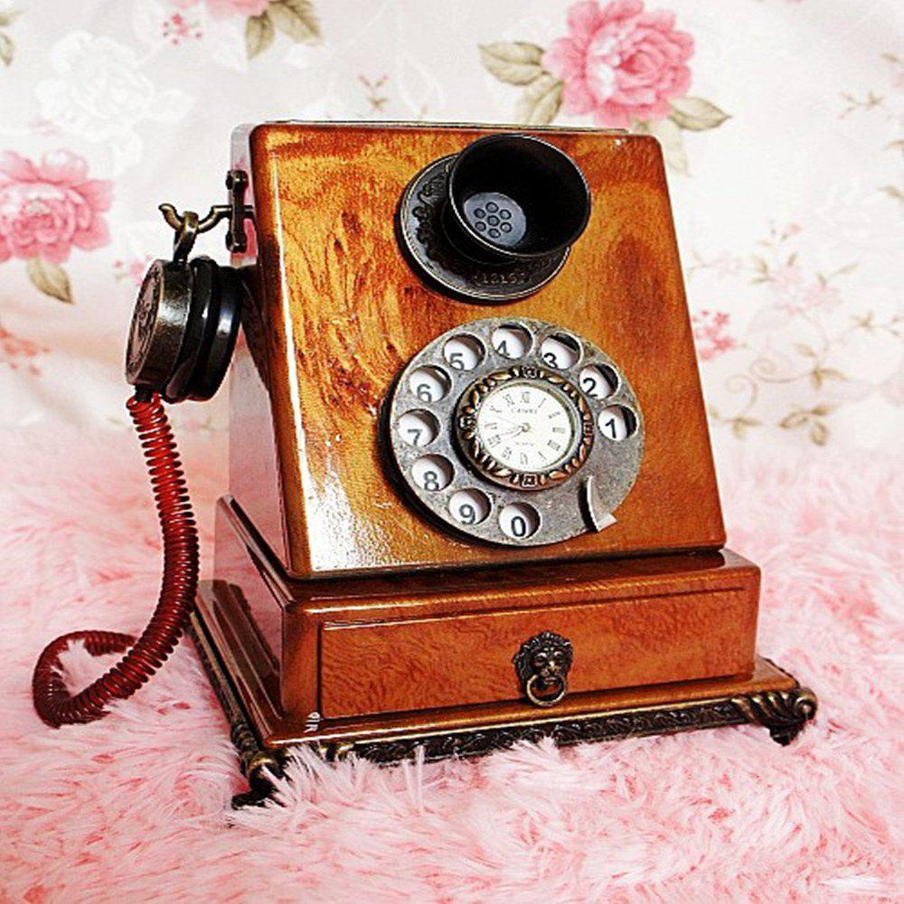 Retro Clock Model Home Furnishing Telephone with Ornaments special offer of burma pear wood carvings wood crafts ornaments ornaments brave lucky money home furnishing feng shui ornaments