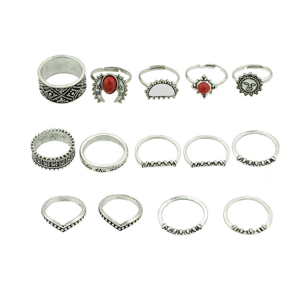Antique Silver Color White Red Stone Sun Knuckle Ring