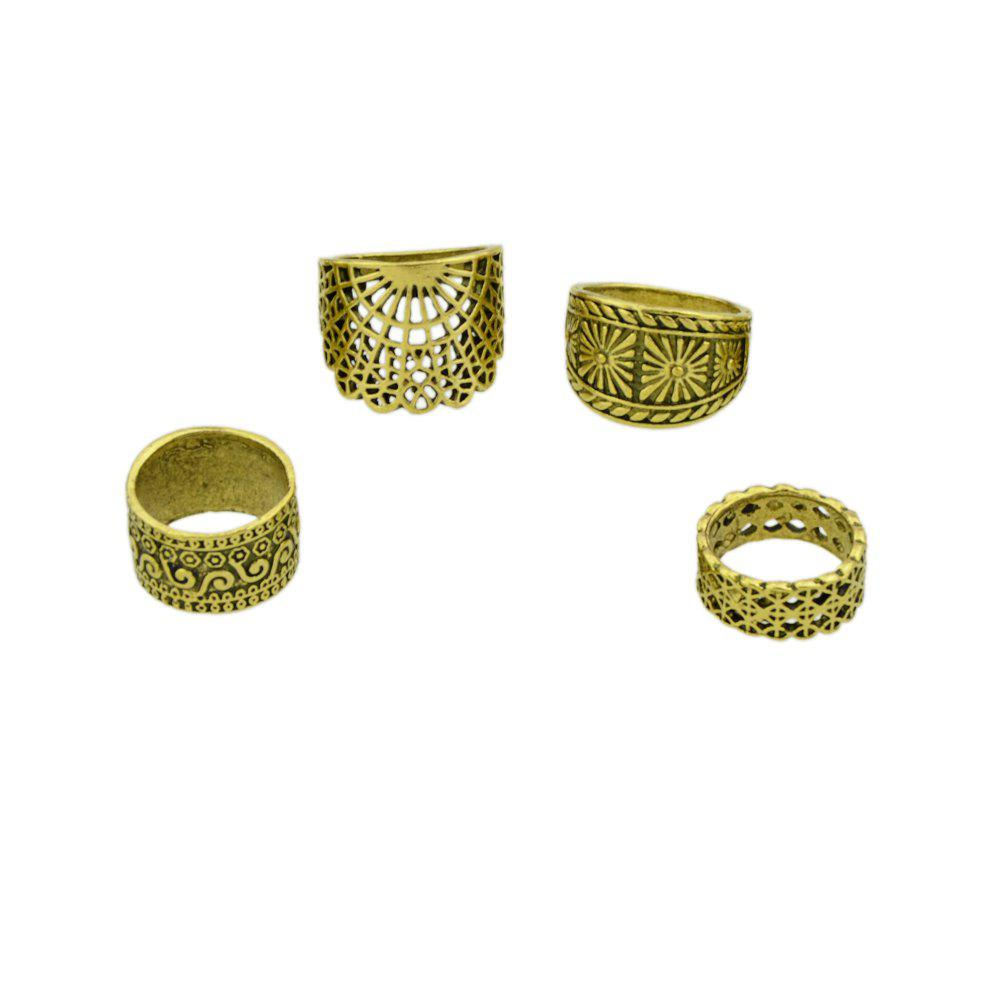 Antique Gold Silver Color Hollow Out Knuckle Ring Set