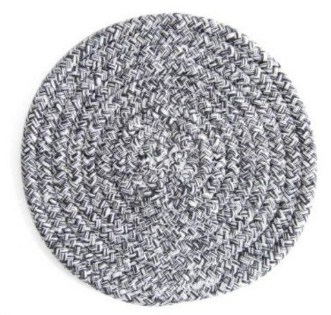 Round Weave Placemat Soft Cotton Thread Thicker Cloth Dining Table Mat - DARK GRAY