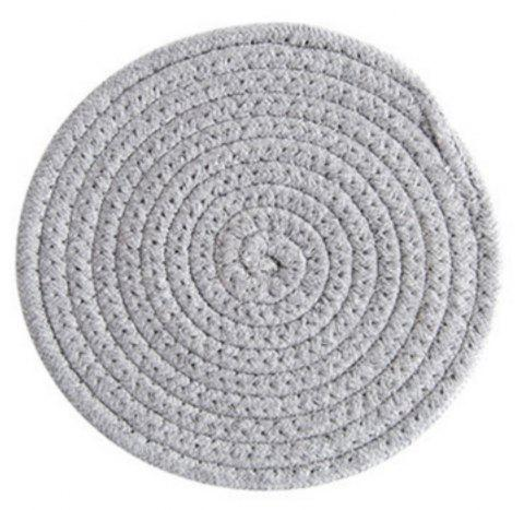 Round Weave Placemat Soft Cotton Thread Thicker Cloth Dining Table Mat - GRAY CLOUD