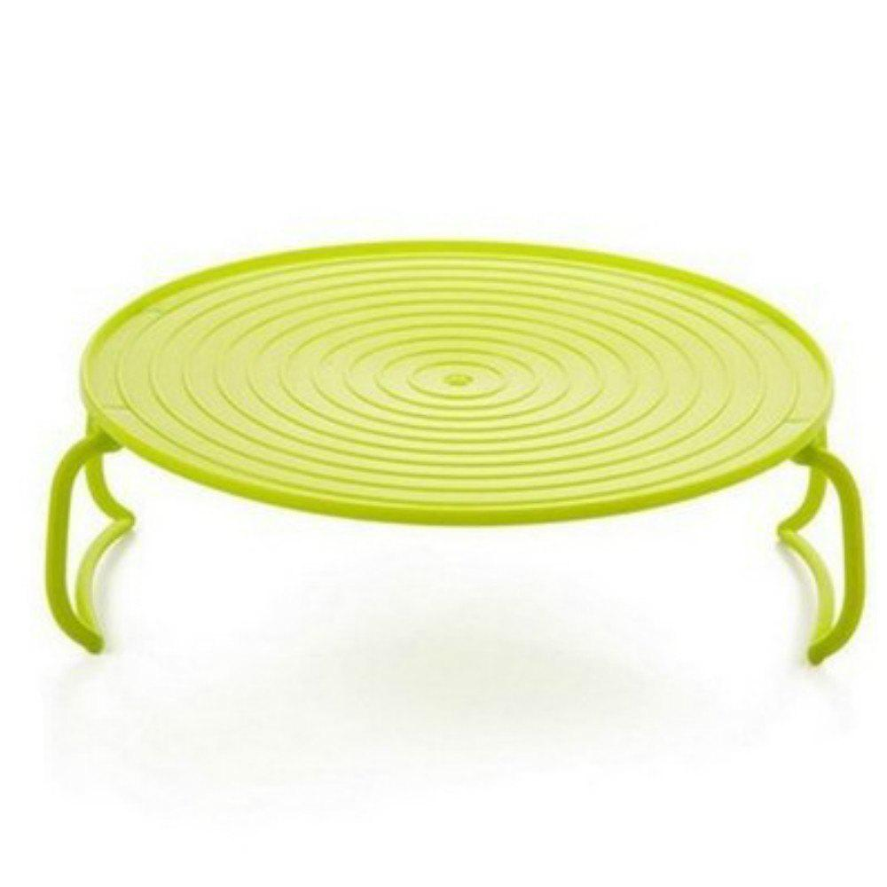 Kitchen Microwave Oven Shelf Bowls Layered Disc Tray Rack - SLIME GREEN