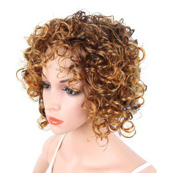 Short Curly Blonde Mix Heat Resistant Fiber Synthetic Hair Wig for White Women - GOLDEN BROWN 12INCH