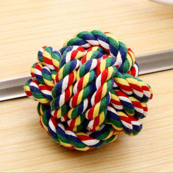 Dog Training Toy Cotton Rope Ball Molar Bite - multicolor A