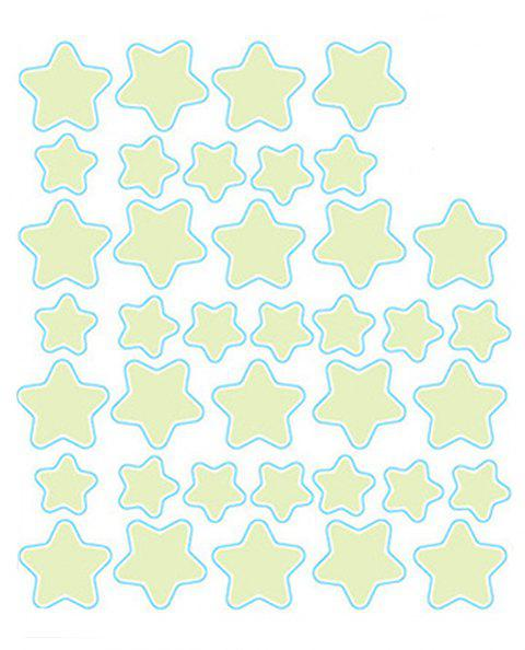 Fashion Room Decorated with Pentagram Shaped Noctilucent Wall Sticker - YELLOW 21X29.7CM