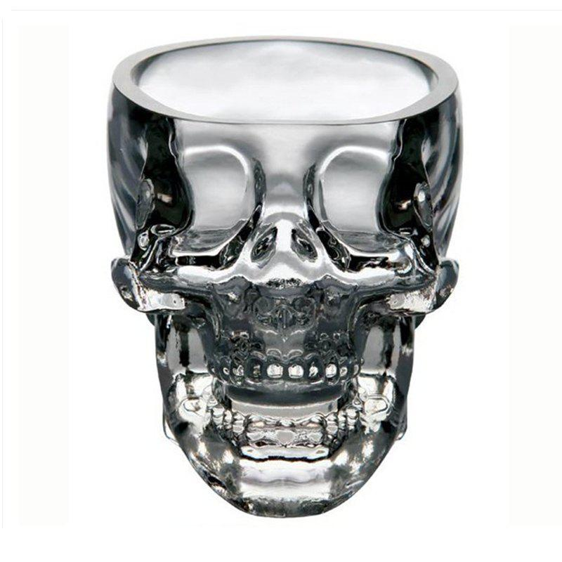 Clear Heavy Base Glass Skull Face Drinking Mugs Glass 75ml - TRANSPARENT