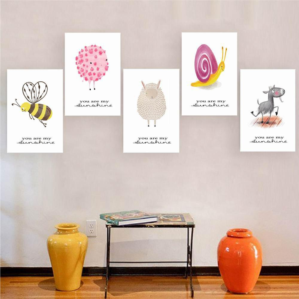 W172 Small Animals Unframed Art Wall Canvas Prints for Home Decorations 5PCS burning guitar pattern unframed wall art canvas paintings