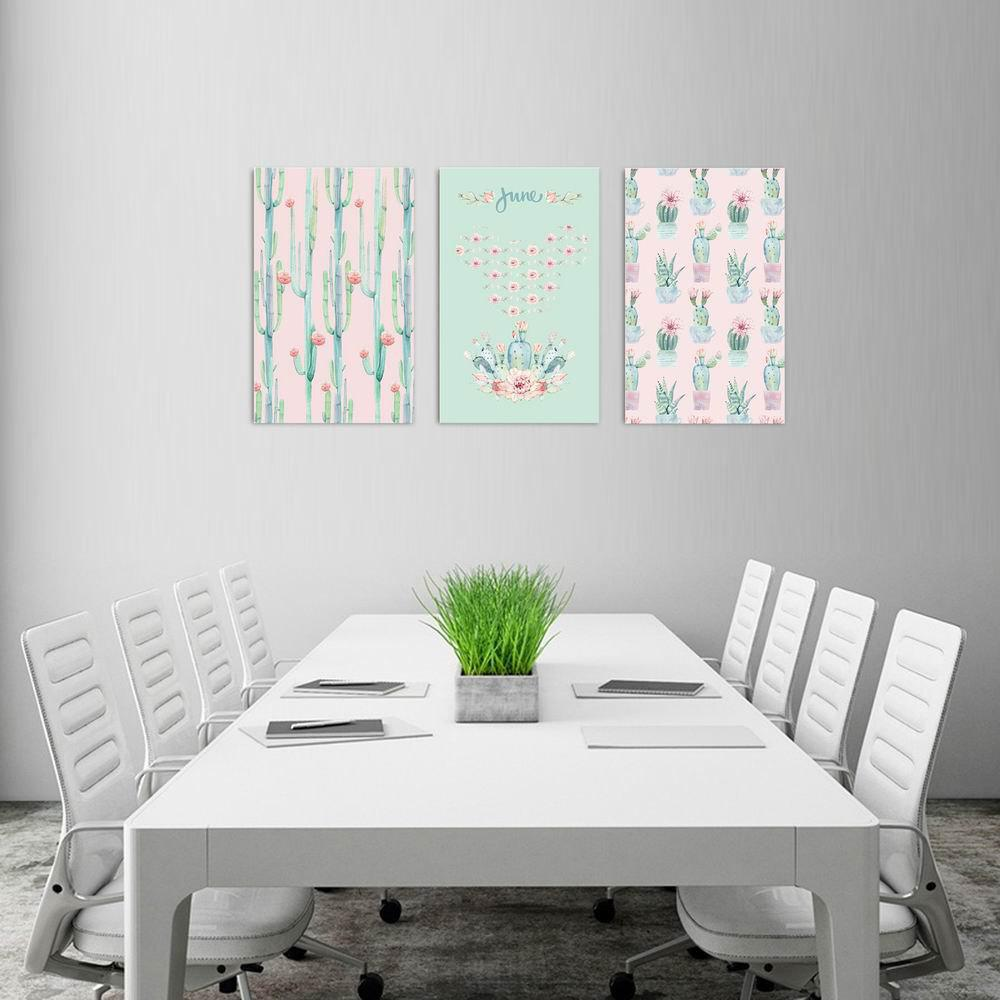 W181 Cactus Unframed Art Wall Canvas Prints for Home Decorations 3 PCS family wall quote removable wall stickers home decal art mural