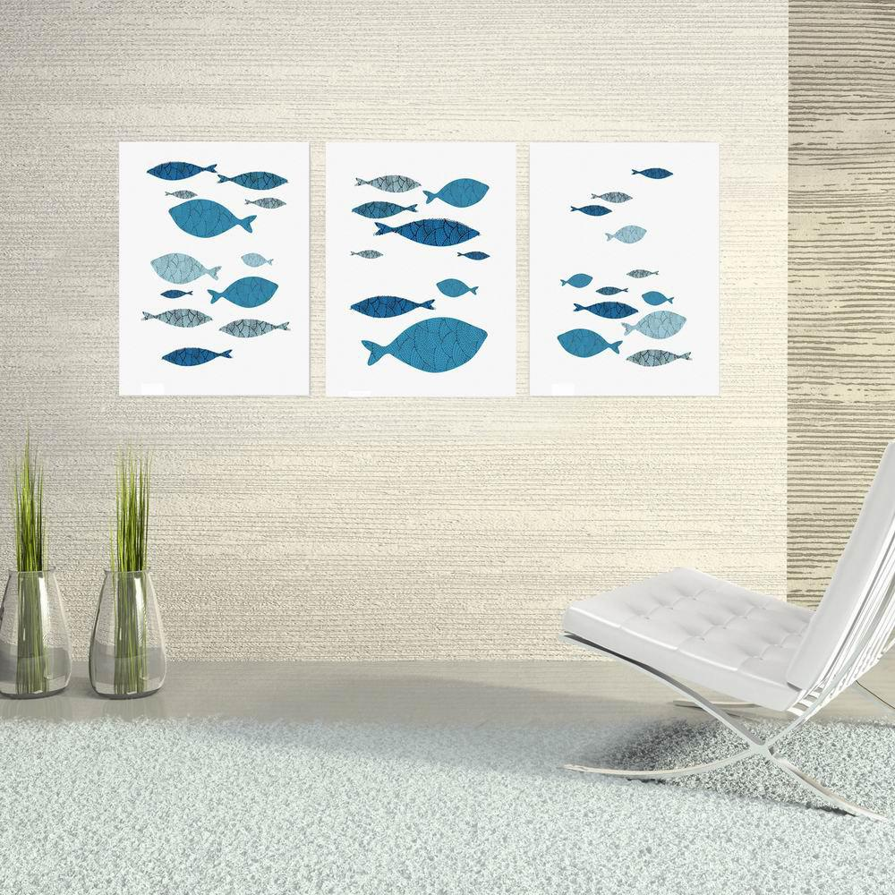 W189 Fishes Unframed Wall Art Canvas Prints for Home Decoration 2PCS family wall quote removable wall stickers home decal art mural