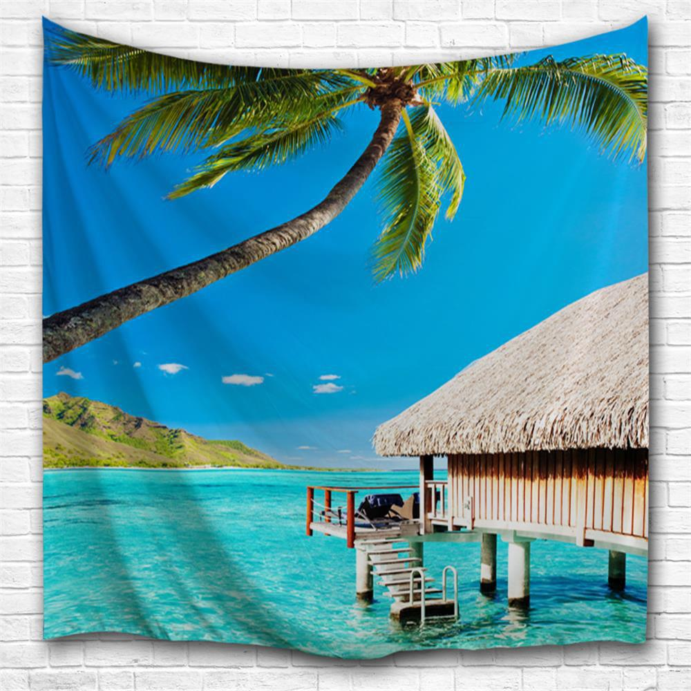Seaside Holiday Homes 3D Printing Home Wall Hanging Tapestry for Decoration space shark 3d printing home wall hanging tapestry for decoration