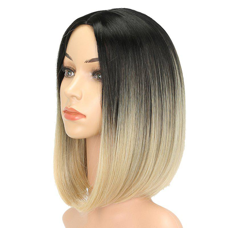 Straight Short Bob Hair Light Blonde Ombre Synthetic Wig for European Girls pretty short straight blonde 8 synthetic hair wigs free shipping