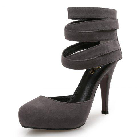 VICONE Femmes Printemps / Automne Round Toe Casual Narrow Band Mode Thin Heels - Gris 38