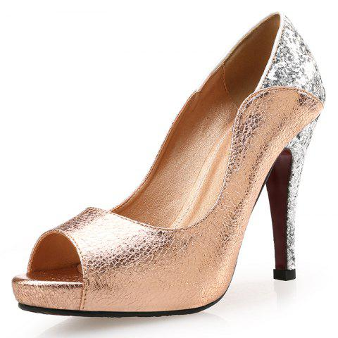 VICONE Femmes Summer Peep Toe Mode Casual Bling mince talons - Or 39