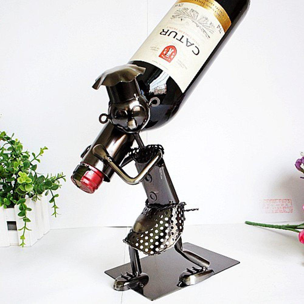 People Collection Wine Rack Moving Iron Ornaments - BLACK