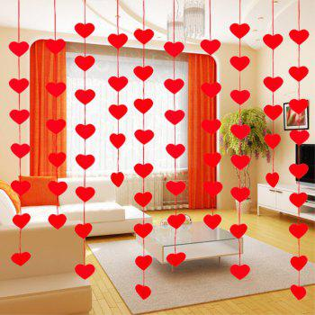 Decorative Arrangement of Non-Woven Love Hanging Pieces of The Curtain - RED