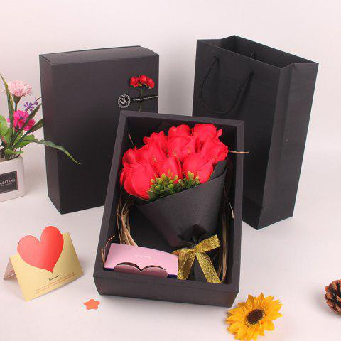 Mother'S Day Gift Black 11 Roses Soap Bouquet Gift Box - RED