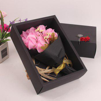 Mother'S Day Gift Black 11 Roses Soap Bouquet Gift Box - PINK