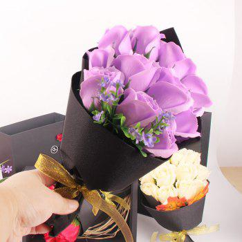 Mother'S Day Gift Black 11 Roses Soap Bouquet Gift Box - MAUVE