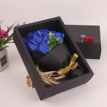 Mother'S Day Gift Black 11 Roses Soap Bouquet Gift Box - ROYAL BLUE