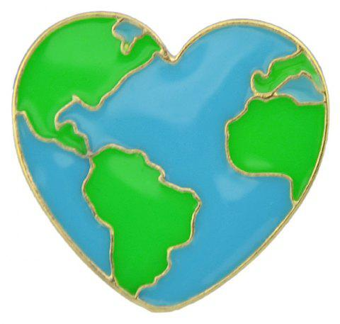 Enamel With Heart Map Shape Brooches For Women - GREEN
