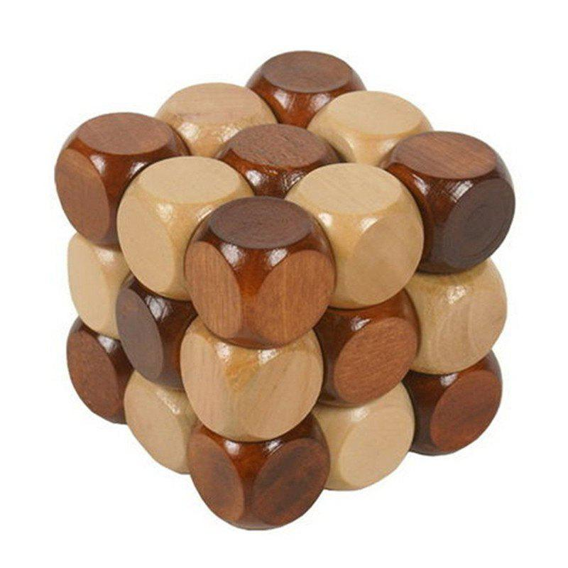 3D Wooden Brain Teaser Puzzle 8 triangle wooden block brain teaser puzzle toy brown